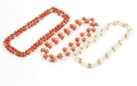 A collection of coral and cultured pearl jewelry