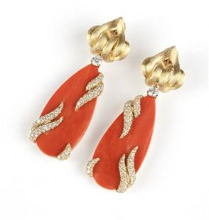 A pair of coral & diamond earrings, Henry Dunay