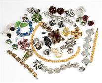 A large collection of vintage costume jewelry