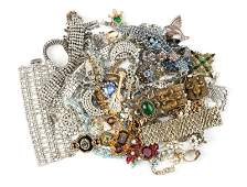 A large group of costume jewelry