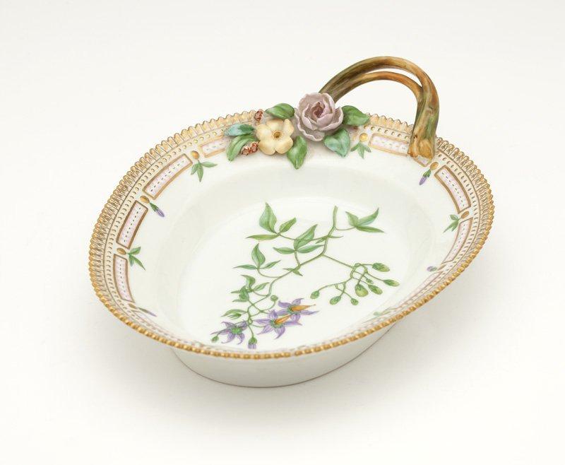 A Royal Copenhagen ''Flora Danica'' handled dish