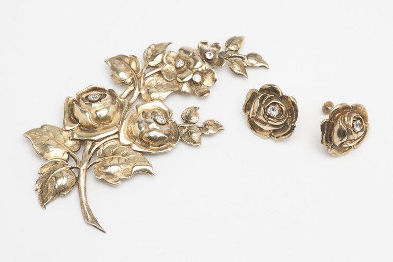 A vermeil and diamond brooch, Clemens Friedell