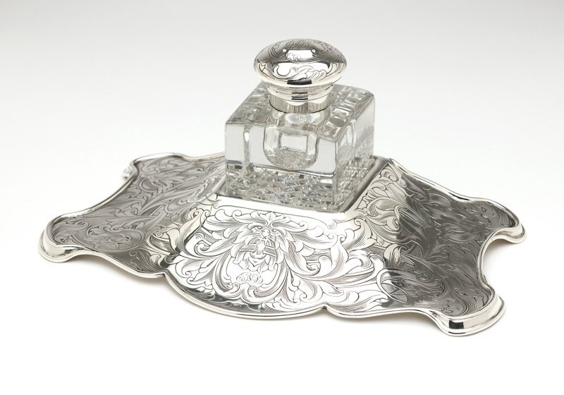 A sterling silver and cut-crystal inkwell, Gorham