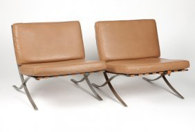 A Pair Of ''barcelona''-style Lounge Chairs