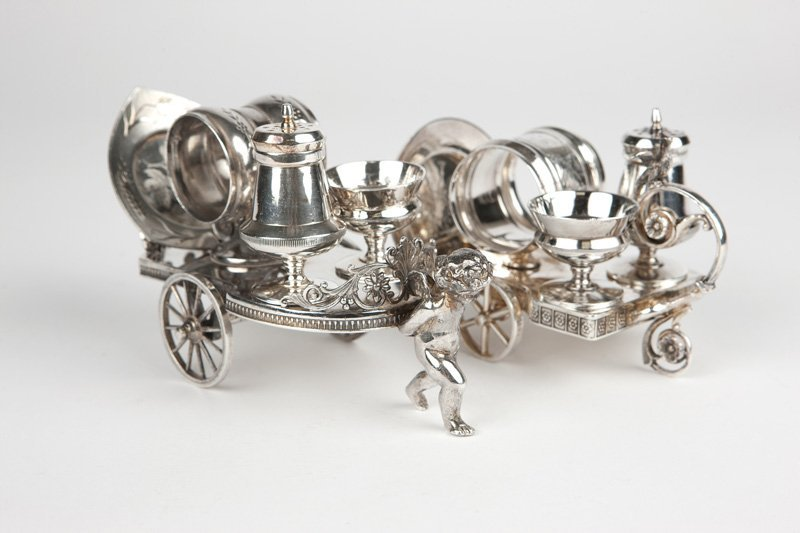 Two Victorian silver-plated condiment trolleys