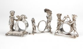 3 Victorian Figural Silver-plated Napkin Rings
