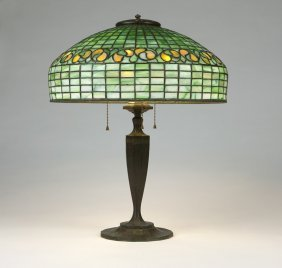 Tiffany Studios Table Lamp And Leaded Glass Shade