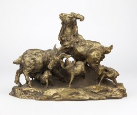 A Chinese Gilt Bronze Sculpture Of Rams