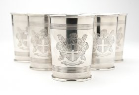 A Set Of Six Silver Armorial Tumblers