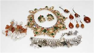 A group of silver and costume jewelry