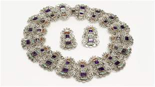 A silver and gem-set collar and earrings, Matl