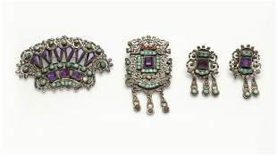 A group of silver and gem-set Mexican jewelry