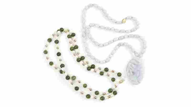 A group of jade and cultured pearl jewelry