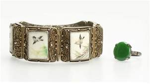 A vermeil filigree bracelet with a jadeite ring