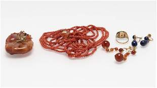 A group of gemstone and gold jewelry