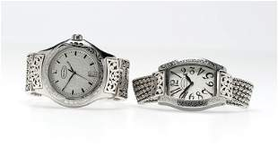 Two silver wristwatches, Lois Hill