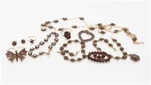 A group of Bohemian garnet jewelry