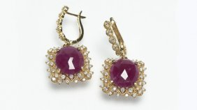 A Pair Of Ruby, Diamond And Gold Pendant Earrings