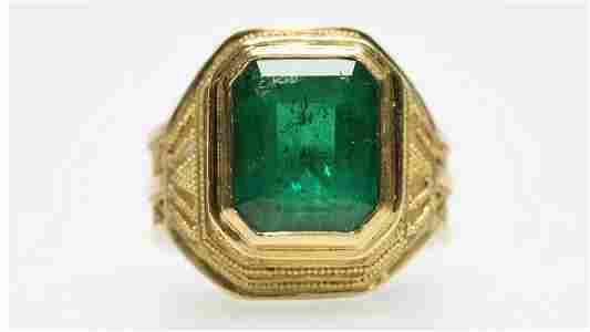 An emerald and diamond ring, Jean Stark