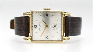 A Longines gold tankstyle wristwatch