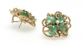 A Pair Of Emerald Cabochon And Gold Earrings