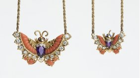 A Pair Of Gem-set And Gold Butterfly Necklaces