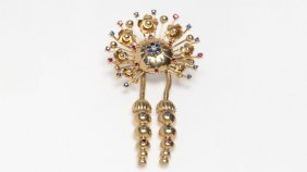 A Retro Gem-set And Gold Floral Brooch
