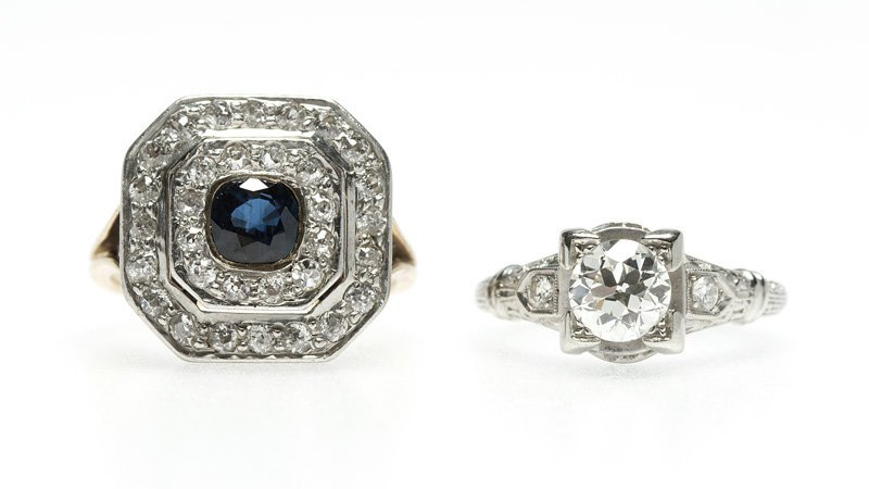 A group of diamond, gem and gold rings