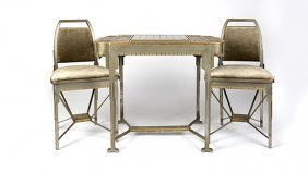 An Art Deco Gilt And Nickel-plated Chess Suite