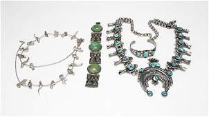 A group of stone sterling and silver jewelry