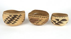 A Group Of Three Hupa / Yurok Twined Baskets