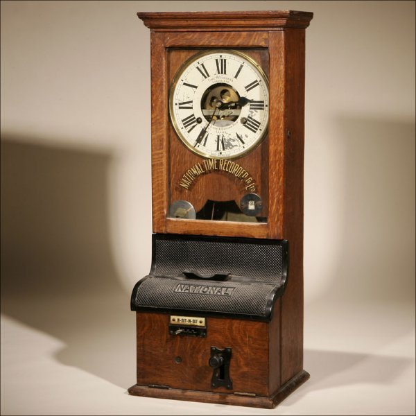 1022: AN ENGLISH  NATIONAL TIME RECORDER CO. OAK CLOCK