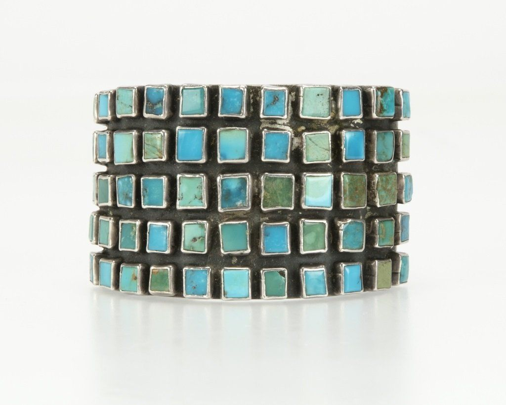 A Hopi sterling silver and turquoise cuff bracelet