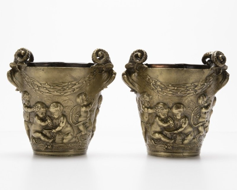 A pair of French bronze cachepots