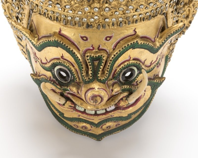 A Thai paper mache mask of Tosakan - 2