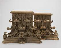 Pair of carved wood Corinthian pilaster capitals