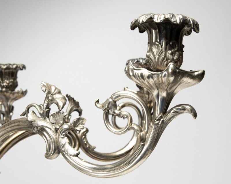 A silver-plated six-branch candelabrum - 4