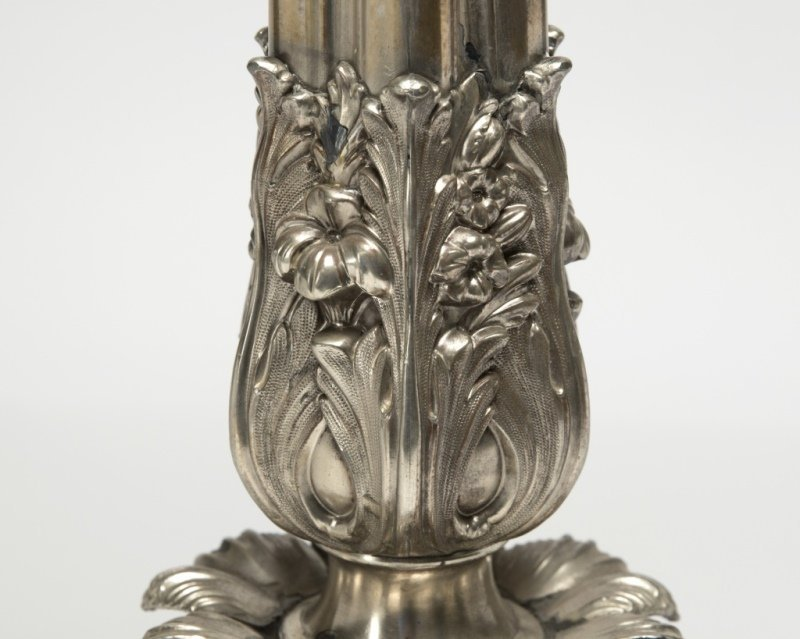A silver-plated six-branch candelabrum - 5