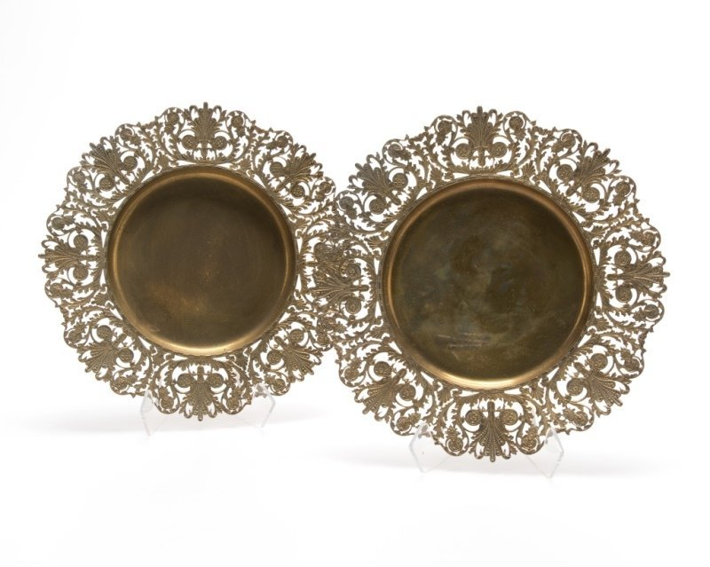 A pair of Howard & Co. vermeil plates