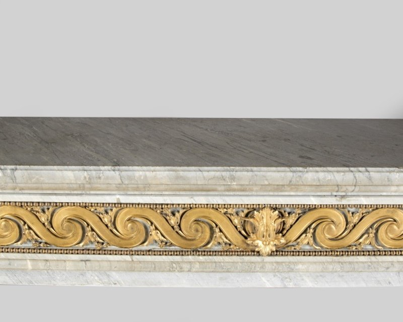 A gilt bronze-mounted marble fireplace surround - 4