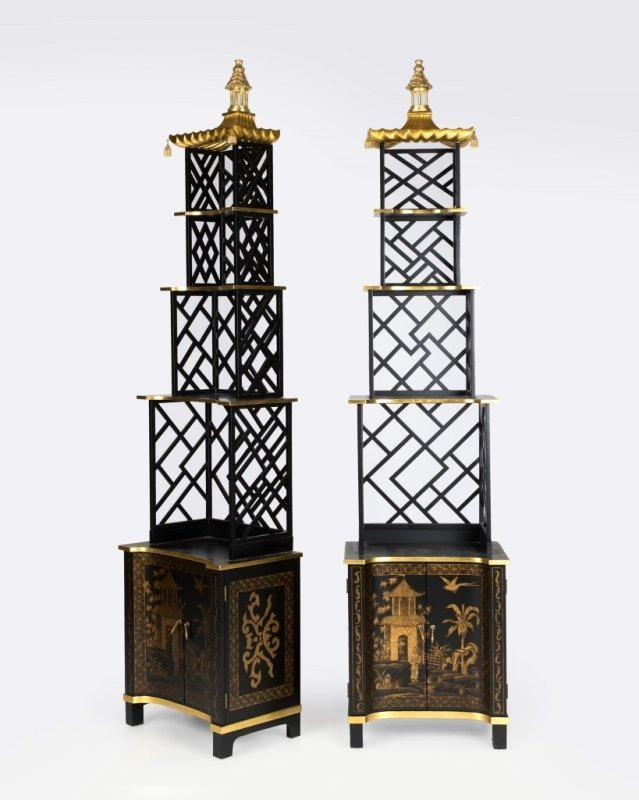 A pair of Chelse House chinoiserie curio shelves