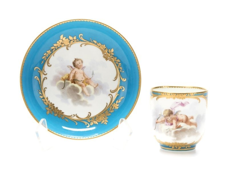 A Sevres bleu celeste porcelain cup and saucer