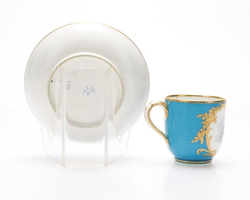 A Sevres bleu celeste porcelain cup and saucer - 2