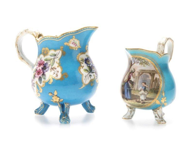 Two Sevres bleu celeste porcelain creamers