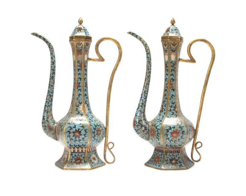A pair of Chinese cloisonne ewers