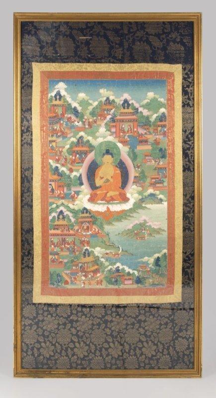 18th Century Sino-Tibetan style Thangka, Buddha
