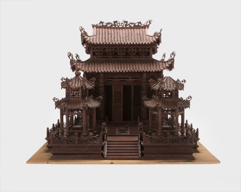 A Chinese carved rosewood temple model