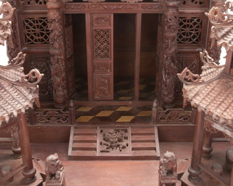 A Chinese carved rosewood temple model - 3