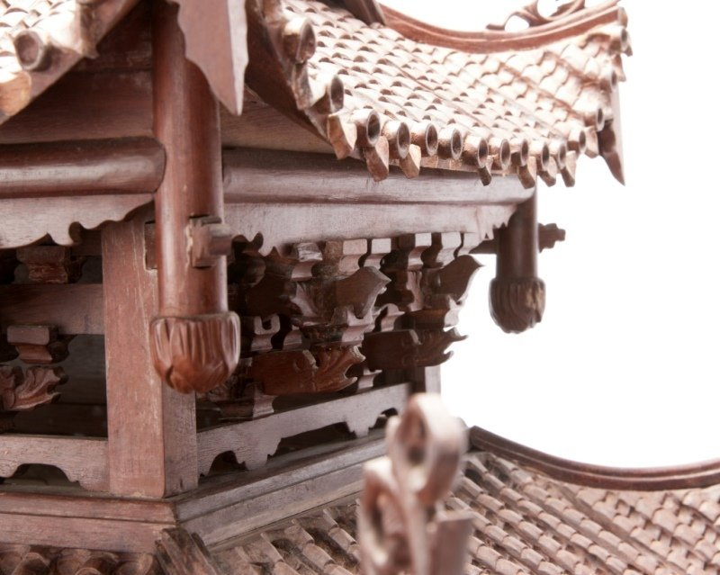 A Chinese carved rosewood temple model - 5