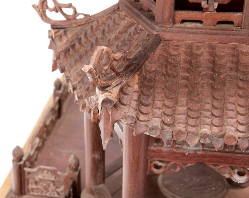 A Chinese carved rosewood temple model - 7